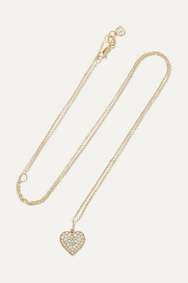 Sydney Evan Mini Heart 14-karat Gold Diamond Necklace