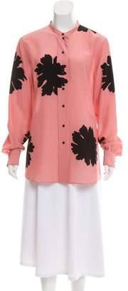 Alexander McQueen Silk Floral Print Button-Up