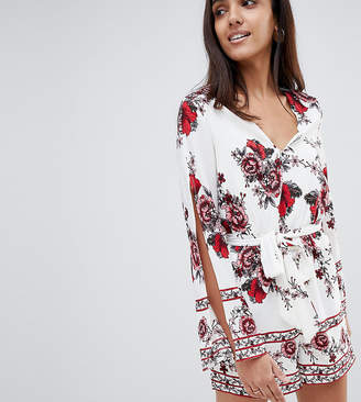 Parisian Tall Border Print Romper With Tie Waist