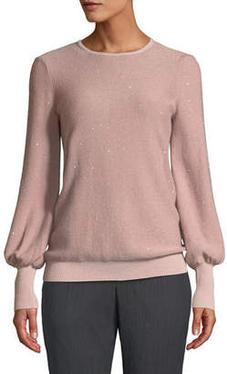 Neiman Marcus Cashmere Sequined Balloon-Sleeve Sweater