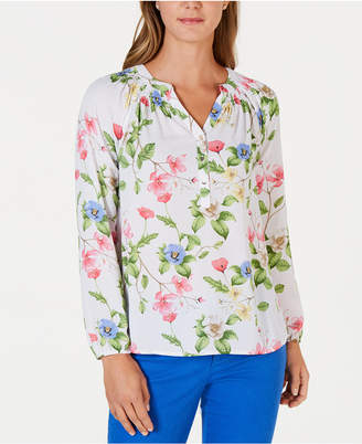 17893e70 Charter Club Petite Floral-Print Smocked Top