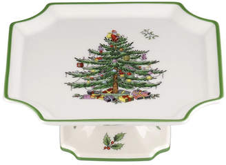 Spode Christmas Tree Footed Square Cake Plate 6.5 Inches