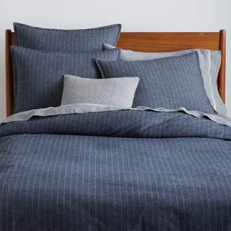 west elm Flannel Pinstripe Duvet Cover - Midnight