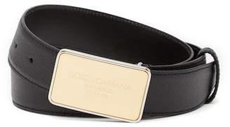 Dolce & Gabbana Pebbled Leather Belt