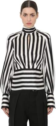 Petar Petrov Open Back Striped Satin Blouse