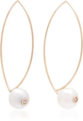 Mizuki White Freshwater Pearl Marquis Earrings