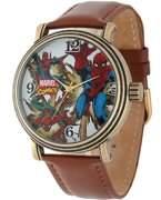 Spiderman Marvel Men's Vintage Gold Antique Alloy Case Watch, Brown Leather Strap