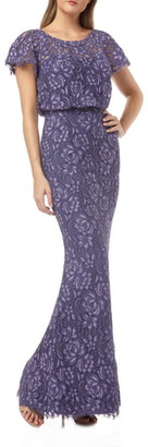 JS Collections Embroidered Lace Blouson Mermaid Evening Gown