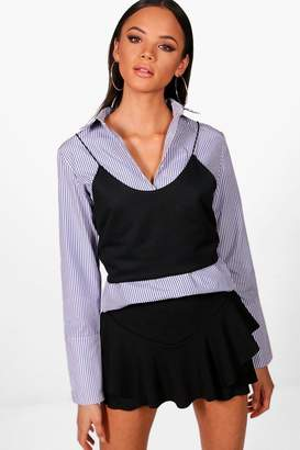 boohoo Tall 2 In 1 Shirt And Cami Top