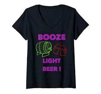 Womens Booze light beer costume design V-Neck T-Shirt