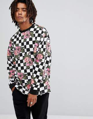 Asos DESIGN Oversized Sweatshirt With Check & Floral Print
