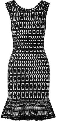 Herve Leger Stretch Jacquard-knit Mini Dress - Black