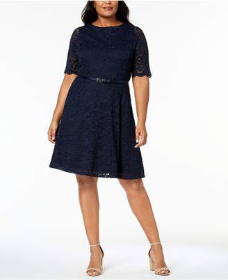 Charter Club Plus Size Belted Lace A-Line Dress