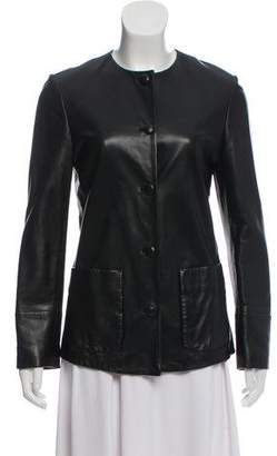 Agnona Leather Button-Up Jacket