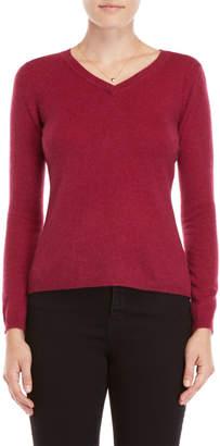Qi Petite Cashmere V-Neck Sweater