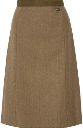 Maison Margiela - Wool-gabardine Skirt - Army green $1,095 thestylecure.com