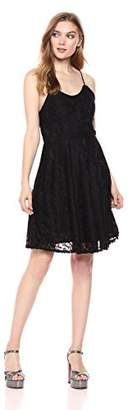 Romantic Dreamers Women's Strappy Back Allover Lace Skater Dress