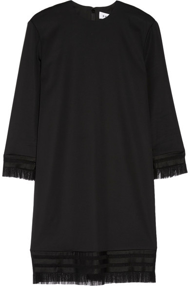 DKNY - Fringed Stretch-twill Mini Dress - Black