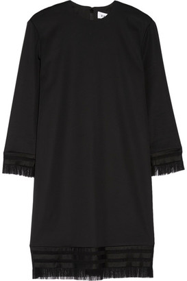 DKNY - Fringed Stretch-twill Mini Dress - Black $460 thestylecure.com