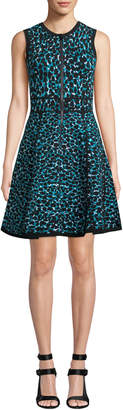 Michael Kors Sleeveless Zip-Front Fit-and-Flare Leopard-Print Dress w/ Paneled Full Skirt