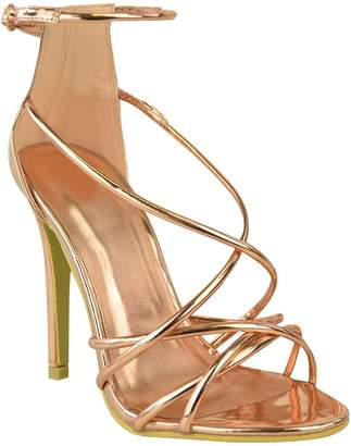 Barely There Fashion Thirsty Womens High Heel Ankle Strappy Peep Toe Party Sandals Size 7