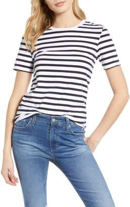 AG Jeans Gray Stripe Boyfriend Tee