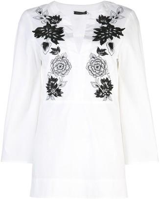 Josie Natori Mandarin tunic top with embroidery