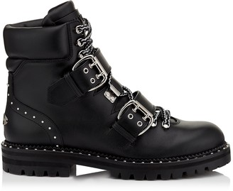 Jimmy Choo BREEZE FLAT Black Smooth Leather Biker Boots