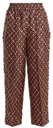 La Doublej - Geometric Print Silk Trousers - Womens - Pink Multi