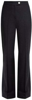 ALEXACHUNG Hound's Tooth Checked Wool Blend Trousers - Womens - Navy