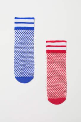 H&M 2-pack Fishnet Socks - Red