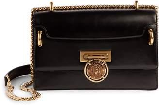 Balmain Glace Leather Box Shoulder Bag