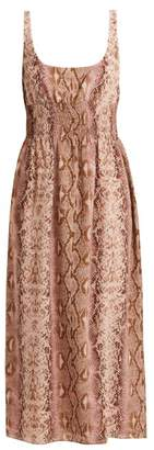 Emilia Wickstead Giovanna Python Print Silk Dress - Womens - Animal