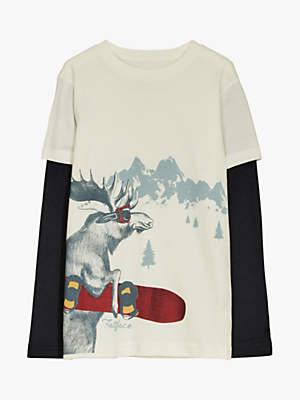 Fat Face Boys' Moose Print T-Shirt, Ecru