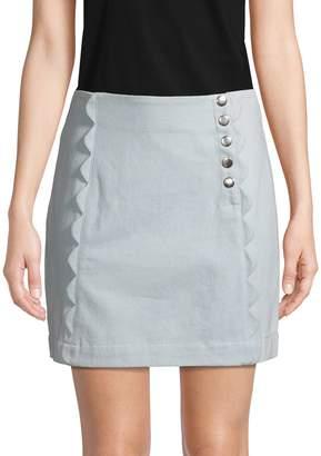 BCBGeneration Scallop-Trimmed Cotton Mini Skirt