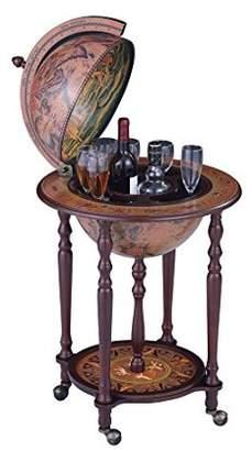 NEX Vintage Wooden Globe Wine Cart, designed with Italian Renaissance Art, Portable Wine Bar, Vintage Design, Stylish Wine Cart-Dark Brown (HT-KF304G-L)
