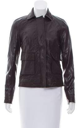 Tory Burch Leather Snap-Up Jacket