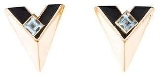 14K Onyx & Aquamarine Drop Earrings
