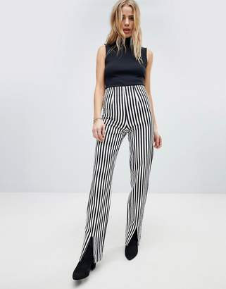 Honey Punch PANTS With Front Splits In Pinstripe