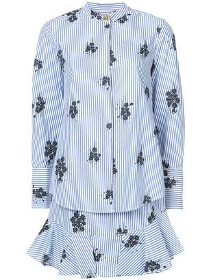 Derek Lam 10 Crosby Long Sleeve 2-In-1 Shirtdress With Ruffle Skirt