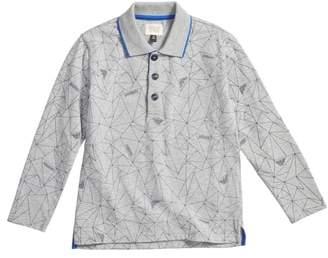 Armani Junior Geo Print Long Sleeve Polo