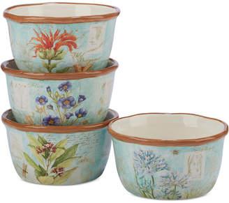 Certified International Herb Blossom Ice Cream Bowls, Set of 4