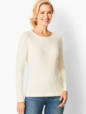 Talbots Long-Sleeve Crewneck Tee-Solid