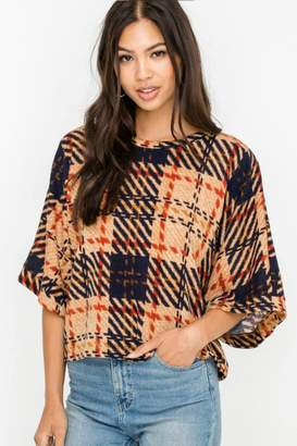 Lush Kimono Sleeve Plaid