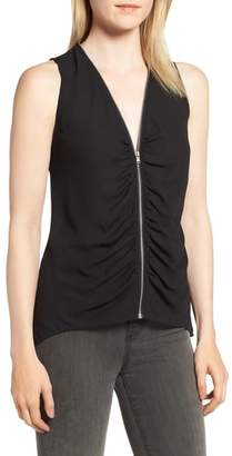 Trouve Zip Shirred Top
