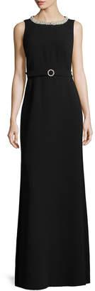 Karl Lagerfeld Embellished Neckline Belt Gown