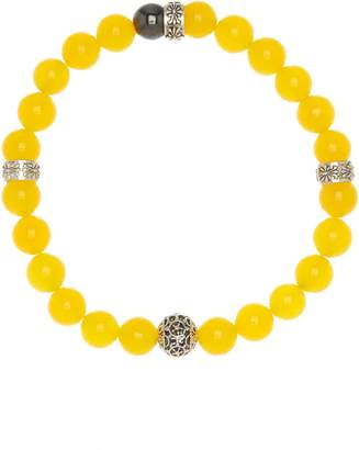 Jean Claude African Yellow Jade And Hemati Stretch Beaded Bracelet
