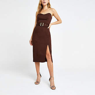 River Island Brown bandeau bodycon dress
