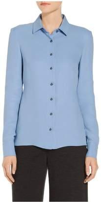 St. John Silk Georgette Long Sleeve Blouse