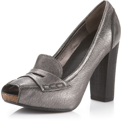 Apepazza Peep-Toe Penny-Loafer Pump, Pewter
